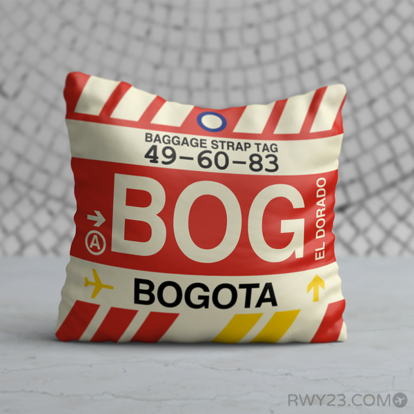 RWY23 - BOG Bogota, Colombia Airport Code Throw Pillow - Birthday Gift Christmas Gift