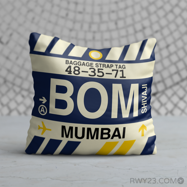 RWY23 - BOM Mumbai, India Airport Code Throw Pillow - Birthday Gift Christmas Gift
