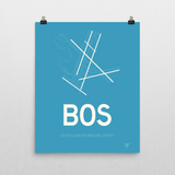 "RWY23 - BOS Boston Airport Runway Diagram Unframed Rectangle Poster - Expat Gift - 16""x20"" Wall"