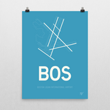 "RWY23 - BOS Boston Airport Runway Diagram Unframed Rectangle Poster - Birthday Gift - 18""x24"" Wall"