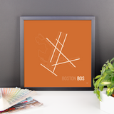 "RWY23 - BOS Boston Airport Runway Diagram Framed Square Poster - Birthday Gift - Desk 14""x14"""