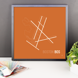 "RWY23 - BOS Boston Airport Runway Diagram Framed Square Poster - Christmas Gift - Desk 18""x18"""