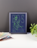 "RWY23 - BOS Boston Airport Diagram Framed Poster - Aviation Art - Birthday Gift, Christmas Gift, Home and Office Decor  - 8""x10"" Desk"
