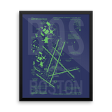 "RWY23 - BOS Boston Airport Diagram Framed Poster - Aviation Art - Birthday Gift, Christmas Gift, Home and Office Decor - 16""x20"" Wall"