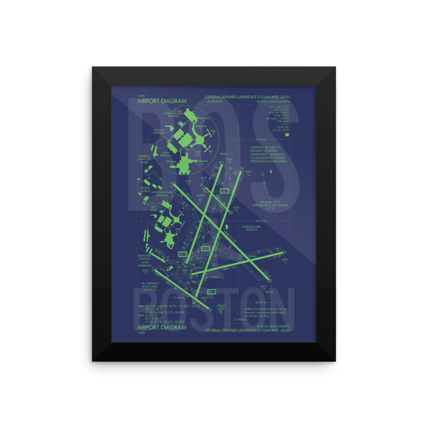 "RWY23 - BOS Boston Airport Diagram Framed Poster - Aviation Art - Birthday Gift, Christmas Gift, Home and Office Decor  - 8""x10"" Wall"