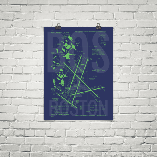 "RWY23 - BOS Boston Airport Diagram Poster - Aviation Art - Birthday Gift, Christmas Gift, Home and Office Decor - 18""x24"" Brick"