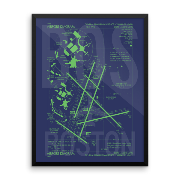 "RWY23 - BOS Boston Airport Diagram Framed Poster - Aviation Art - Birthday Gift, Christmas Gift, Home and Office Decor - 18""x24"" Wall"