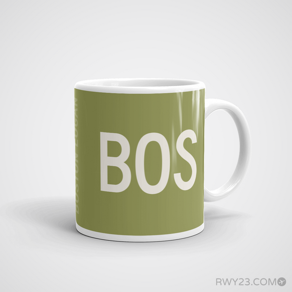 RWY23 - BOS Boston Coffee Mug - Airport Code and Runway Diagram Design - Aviation Gift Birthday Gift - Right