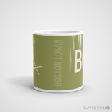 RWY23 - BOS Boston Coffee Mug - Airport Code and Runway Diagram Design - Student Gift Teacher Gift - Side