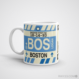 RWY23 - BOS Boston Airport Code Coffee Mug - Birthday Gift, Christmas Gift - Left
