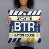 BTR Baton Rouge Throw Pillow • Airport Code & Vintage Baggage Tag Design