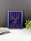 "RWY23 - BUF Buffalo Airport Diagram Framed Poster - Aviation Art - Birthday Gift, Christmas Gift, Home and Office Decor  - 8""x10"" Desk"
