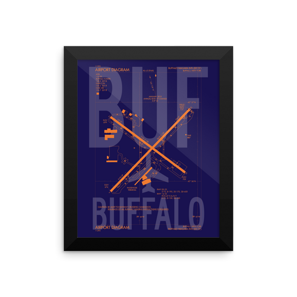 "RWY23 - BUF Buffalo Airport Diagram Framed Poster - Aviation Art - Birthday Gift, Christmas Gift, Home and Office Decor  - 8""x10"" Wall"