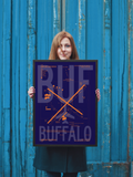"RWY23 - BUF Buffalo Airport Diagram Framed Poster - Aviation Art - Birthday Gift, Christmas Gift, Home and Office Decor - 18""x24"" Person"