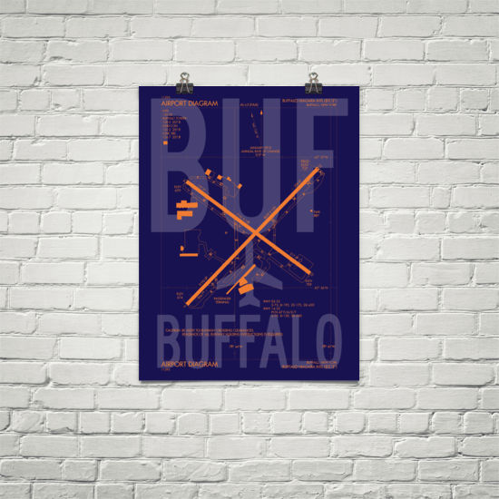 "RWY23 - BUF Buffalo Airport Diagram Poster - Aviation Art - Birthday Gift, Christmas Gift, Home and Office Decor - 18""x24"" Brick"