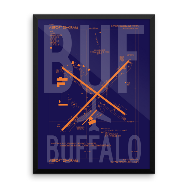 "RWY23 - BUF Buffalo Airport Diagram Framed Poster - Aviation Art - Birthday Gift, Christmas Gift, Home and Office Decor - 18""x24"" Wall"
