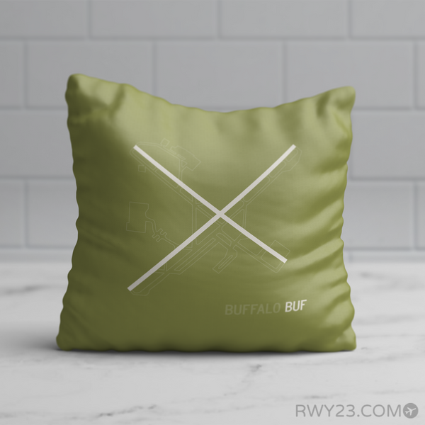 RWY23 - BUF Buffalo Airport Runway Diagram Design Throw Pillow - Birthday Gift Christmas Gift
