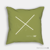 RWY23 - BUF Buffalo Throw Pillow - Airport Runway Diagram Design - Housewarming Gift Aviation Gift