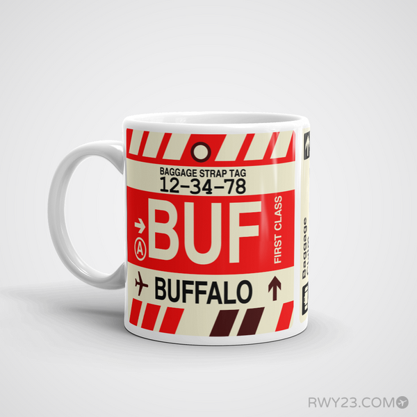 RWY23 - BUF Buffalo, New York Airport Code Coffee Mug - Birthday Gift, Christmas Gift - Left