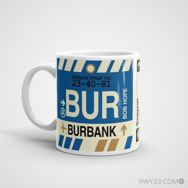 RWY23 - BUR Burbank, California Airport Code Coffee Mug - Birthday Gift, Christmas Gift - Left