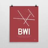 "RWY23 - BWI Baltimore-Washington Airport Runway Diagram Unframed Rectangle Poster - Expat Gift - 16""x20"" Wall"