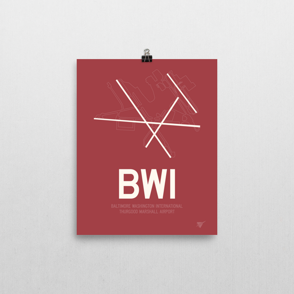 "RWY23 - BWI Baltimore-Washington Airport Runway Diagram Unframed Rectangle Poster - Airport Gift - 8""x10"" Wall"