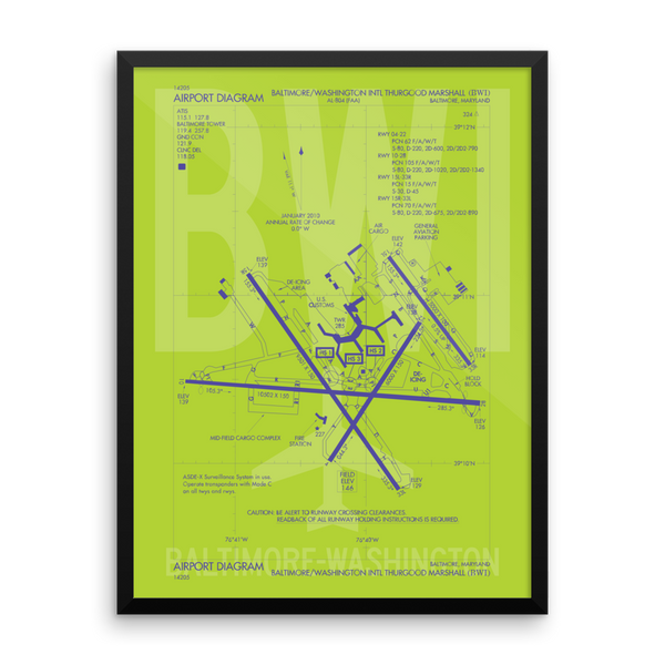 "RWY23 - BWI Baltimore-Washington Airport Diagram Framed Poster - Aviation Art - Birthday Gift, Christmas Gift, Home and Office Decor - 18""x24"" Wall"