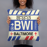 RWY23 - BWI Baltimore-Washington, Maryland Airport Code Throw Pillow - Birthday Gift Christmas Gift - Lady