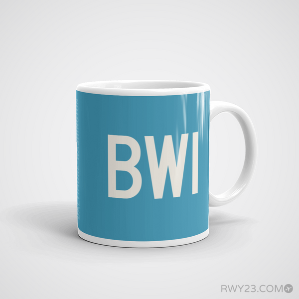 RWY23 - BWI Baltimore-Washington Coffee Mug - Airport Code and Runway Diagram Design - Aviation Gift Birthday Gift - Right
