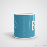 RWY23 - BWI Baltimore-Washington Coffee Mug - Airport Code and Runway Diagram Design - Student Gift Teacher Gift - Side