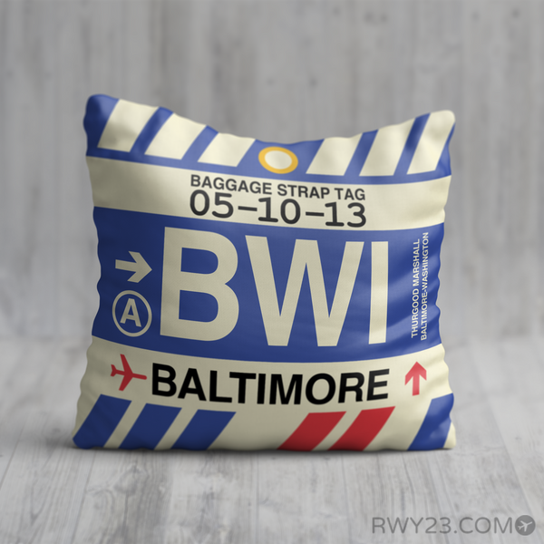 RWY23 - BWI Baltimore-Washington, Maryland Airport Code Throw Pillow - Birthday Gift Christmas Gift