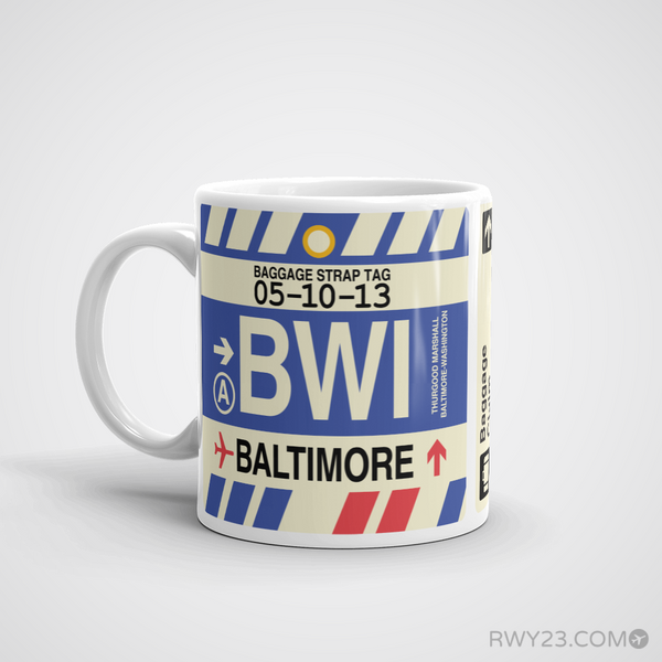 RWY23 - BWI Baltimore-Washington, Maryland Airport Code Coffee Mug - Birthday Gift, Christmas Gift - Left
