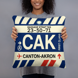 RWY23 - CAK Canton-Akron, Ohio Airport Code Throw Pillow - Birthday Gift Christmas Gift - Lady