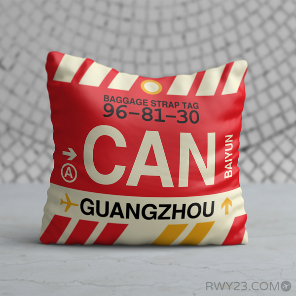 RWY23 - CAN Guangzhou, China Airport Code Throw Pillow - Birthday Gift Christmas Gift
