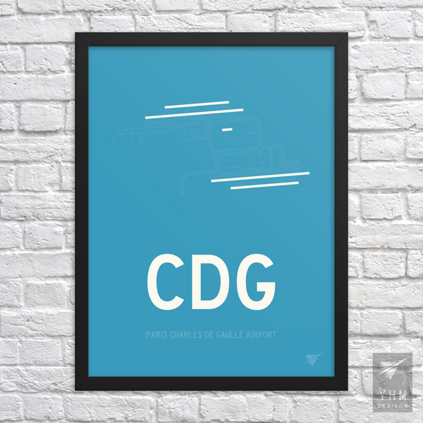 CDG Paris Runway Diagram Poster