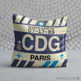 RWY23 - CDG Paris, France Airport Code Throw Pillow - Birthday Gift Christmas Gift