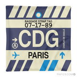 RWY23 - CDG Paris, France Airport Code Throw Pillow - Aviation Gift Travel Gift