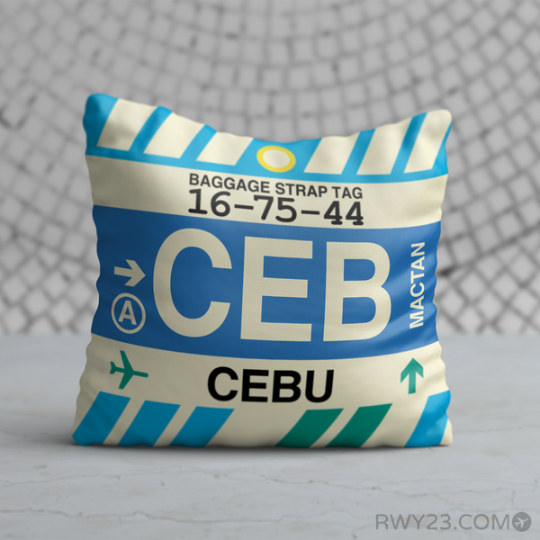 RWY23 - CEB Cebu, Philippines Airport Code Throw Pillow - Birthday Gift Christmas Gift