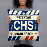 CHS Charleston Throw Pillow • Airport Code & Vintage Baggage Tag Design