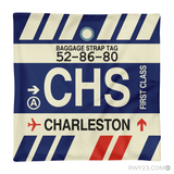 RWY23 - CHS Charleston, South Carolina Airport Code Throw Pillow - Aviation Gift Travel Gift