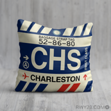 RWY23 - CHS Charleston, North Carolina Airport Code Throw Pillow - Birthday Gift Christmas Gift