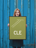 "RWY23 - CLE Cleveland Airport Runway Diagram Framed Rectangle Poster - Birthday Gift - 18""x24"" Person"