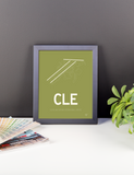 "RWY23 - CLE Cleveland Airport Runway Diagram Framed Rectangle Poster - Expat Gift - 8""x10"" Desk"