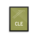 "RWY23 - CLE Cleveland Airport Runway Diagram Framed Rectangle Poster - Travel Gift - 12""x16"" Wall"