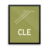 "RWY23 - CLE Cleveland Airport Runway Diagram Framed Rectangle Poster - Aviation Gift - 16""x20"" Wall"