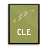 "RWY23 - CLE Cleveland Airport Runway Diagram Framed Rectangle Poster - Christmas Gift - 18""x24"" Wall"