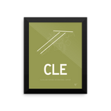 "RWY23 - CLE Cleveland Airport Runway Diagram Framed Rectangle Poster - Housewarming Gift - 8""x10"" Wall"