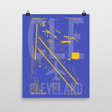 "RWY23 - CLE Cleveland Airport Diagram Poster - Aviation Art - Birthday Gift, Christmas Gift, Home and Office Decor - 16""x20"" Wall"