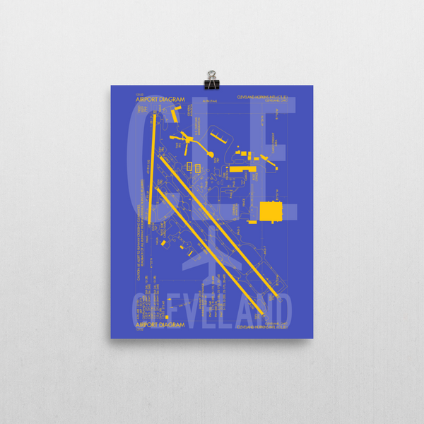"RWY23 - CLE Cleveland Airport Diagram Poster - Aviation Art - Birthday Gift, Christmas Gift, Home and Office Decor  - 8""x10"" Wall"