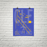 "RWY23 - CLE Cleveland Airport Diagram Poster - Aviation Art - Birthday Gift, Christmas Gift, Home and Office Decor - 18""x24"" Brick"